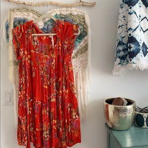 Free People floral gauze cotton wrap dress
